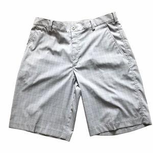 Nike Dri-fit tan plaid flat front golf shorts